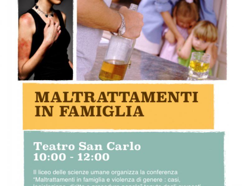 Avv. Nicoletta Parvis –  Teatro San Carlo – 01.12.2016 Maltrattamenti in famiglia